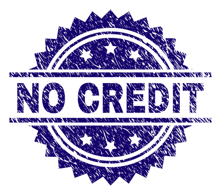 NO CREDIT stamp seal watermark with distress style. Blue vector rubber print of NO CREDIT label with corroded texture.