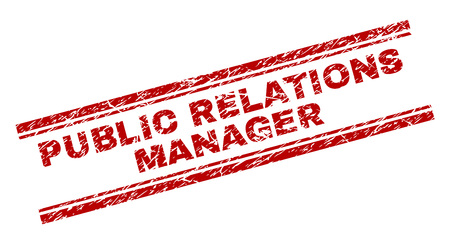 PUBLIC RELATIONS MANAGER seal print with corroded texture. Red vector rubber print of PUBLIC RELATIONS MANAGER text with retro texture. Text title is placed between double parallel lines.