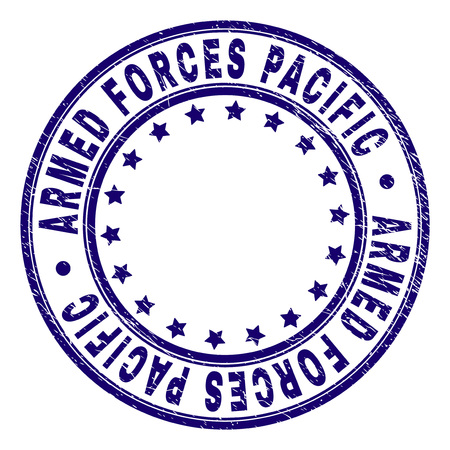 ARMED FORCES PACIFIC stamp seal imprint with grunge texture. Designed with round shapes and stars. Blue vector rubber print of ARMED FORCES PACIFIC caption with dirty texture.