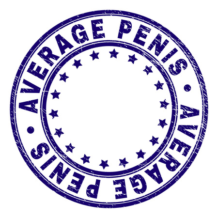 AVERAGE PENIS stamp seal imprint with grunge texture. Designed with circles and stars. Blue vector rubber print of AVERAGE PENIS text with unclean texture. Ilustração