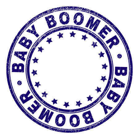 BABY BOOMER stamp seal watermark with distress texture. Designed with round shapes and stars. Blue vector rubber print of BABY BOOMER caption with dirty texture.
