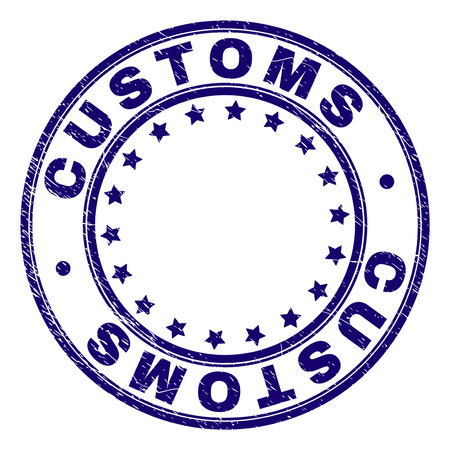 CUSTOMS stamp seal watermark with grunge texture. Designed with circles and stars. Blue vector rubber print of CUSTOMS tag with grunge texture. Illustration