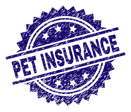 PET INSURANCE stamp seal watermark with distress style. Blue vector rubber print of PET INSURANCE title with scratched texture. Illustration