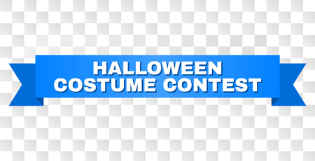 HALLOWEEN COSTUME CONTEST text on a ribbon. Designed with white title and blue tape. Vector banner with HALLOWEEN COSTUME CONTEST tag on a transparent background. Vector Illustration