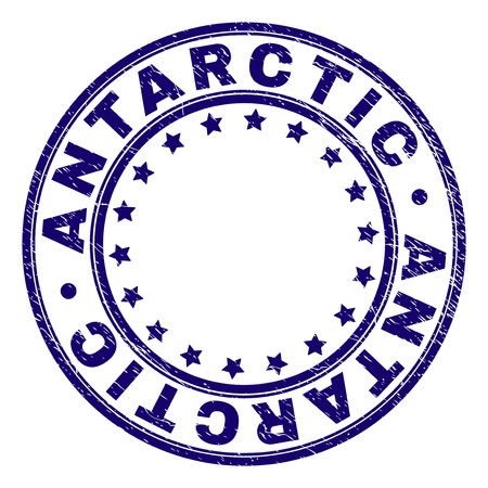 ANTARCTIC stamp seal watermark with distress texture. Designed with round shapes and stars. Blue vector rubber print of ANTARCTIC text with dirty texture. 写真素材 - 125487624