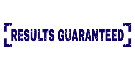 RESULTS GUARANTEED text seal watermark with corroded texture. Text label is placed between corners. Blue vector rubber print of RESULTS GUARANTEED with retro texture. Фото со стока - 125487643