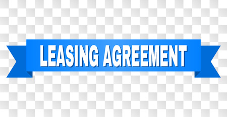LEASING AGREEMENT text on a ribbon. Designed with white title and blue stripe. Vector banner with LEASING AGREEMENT tag on a transparent background.
