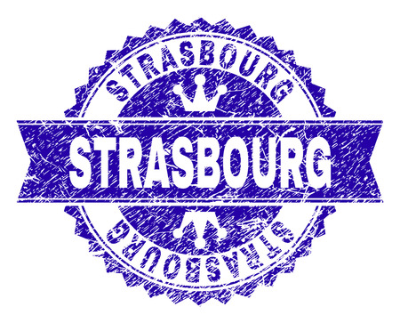 STRASBOURG rosette stamp watermark with grunge effect. Designed with round rosette, ribbon and small crowns. Blue vector rubber watermark of STRASBOURG tag with grunge texture.