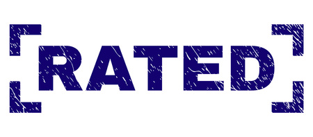 RATED text seal stamp with grunge texture. Text tag is placed inside corners. Blue vector rubber print of RATED with grunge texture.