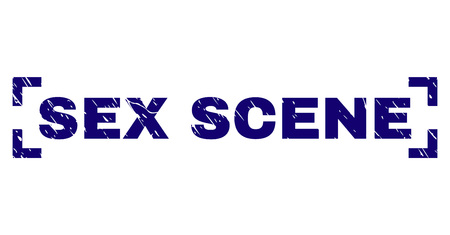 SEX SCENE tag seal print with corroded texture. Text tag is placed between corners. Blue vector rubber print of SEX SCENE with unclean texture.