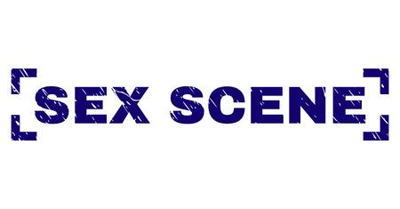 SEX SCENE-Tag-Siegeldruck mit korrodierter Textur. Text-Tag wird zwischen Ecken platziert. Blauer Vektorgummidruck von SEX-SZENE mit unsauberer Textur. Vektorgrafik