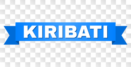 KIRIBATI text on a ribbon. Designed with white caption and blue stripe. Vector banner with KIRIBATI tag on a transparent background.