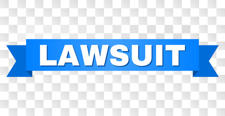 LAWSUIT text on a ribbon. Designed with white title and blue stripe. Vector banner with LAWSUIT tag on a transparent background.