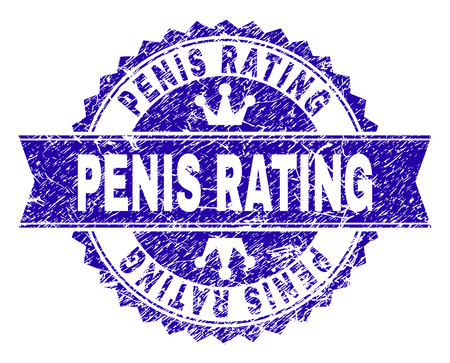 PENIS RATING rosette stamp seal watermark with grunge style. Designed with round rosette, ribbon and small crowns. Blue vector rubber watermark of PENIS RATING tag with retro style.