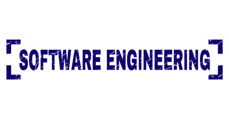 SOFTWARE ENGINEERING caption seal print with grunge effect. Text caption is placed inside corners. Blue vector rubber print of SOFTWARE ENGINEERING with dust texture.
