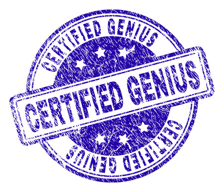 CERTIFIED GENIUS stamp seal imprint with distress texture. Designed with rounded rectangles and circles. Blue vector rubber print of CERTIFIED GENIUS caption with grunge texture.