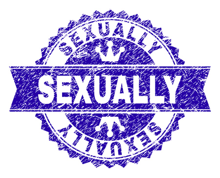 SEXUALLY rosette seal watermark with distress style. Designed with round rosette, ribbon and small crowns. Blue vector rubber watermark of SEXUALLY text with unclean style.