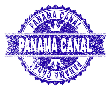 PANAMA CANAL rosette stamp seal overlay with distress style. Designed with round rosette, ribbon and small crowns. Blue vector rubber watermark of PANAMA CANAL label with unclean style.