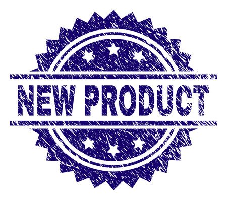 NEW PRODUCT stamp seal watermark with distress style. Blue vector rubber print of NEW PRODUCT tag with corroded texture.