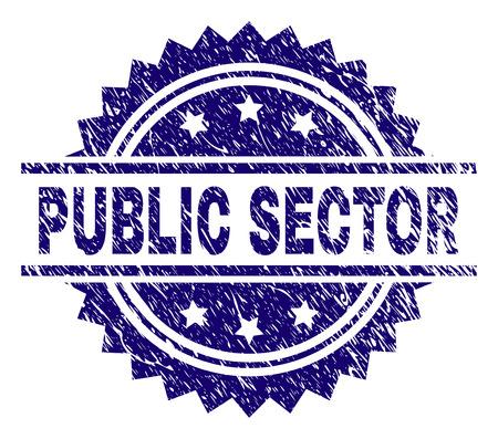 Filigrane de sceau de timbre du SECTEUR PUBLIC avec style de détresse. Impression en caoutchouc de vecteur bleu de tag SECTEUR PUBLIC avec texture rétro.