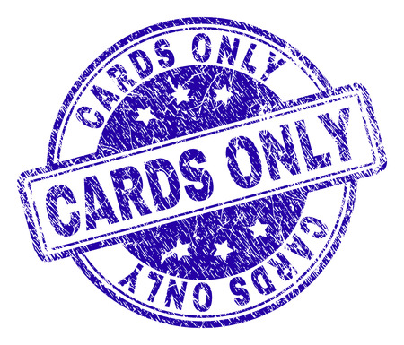 CARDS ONLY stamp seal imprint with distress texture. Designed with rounded rectangles and circles. Blue vector rubber print of CARDS ONLY title with dust texture.