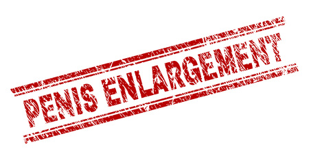 PENIS ENLARGEMENT seal imprint with corroded texture. Red vector rubber print of PENIS ENLARGEMENT text with dirty texture. Text label is placed between double parallel lines. Иллюстрация