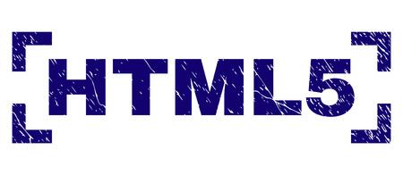 HTML5-Titelsiegeldruck mit korrodiertem Stil. Textetikett wird zwischen den Ecken platziert. Blauer Vektorgummidruck von HTML5 mit korrodierter Textur.