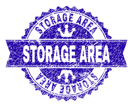 STORAGE AREA rosette stamp imitation with grunge effect. Designed with round rosette, ribbon and small crowns. Blue vector rubber print of STORAGE AREA caption with grunge texture.