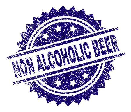 NON ALCOHOLIC BEER stamp seal watermark with distress style. Blue vector rubber print of NON ALCOHOLIC BEER text with dust texture.