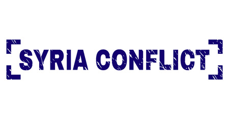 SYRIA CONFLICT caption seal print with corroded effect. Text caption is placed between corners. Blue vector rubber print of SYRIA CONFLICT with corroded texture.  イラスト・ベクター素材