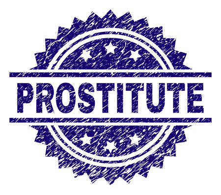 PROSTITUTE stamp seal watermark with distress style. Blue vector rubber print of PROSTITUTE title with grunge texture. Ilustração