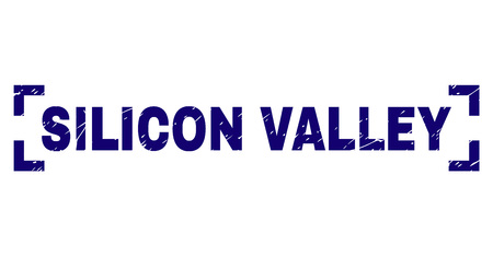 SILICON VALLEY title seal print with grunge effect. Text title is placed between corners. Blue vector rubber print of SILICON VALLEY with grunge texture.