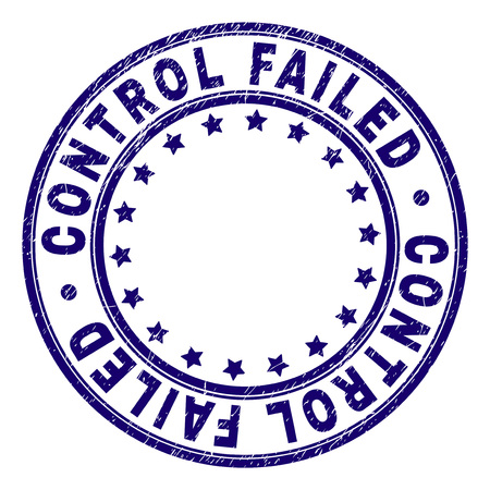 CONTROL FAILED stamp seal watermark with distress texture. Designed with circles and stars. Blue vector rubber print of CONTROL FAILED caption with unclean texture. Illustration