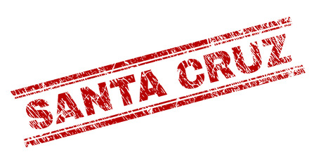 SANTA CRUZ seal watermark with corroded texture. Red vector rubber print of SANTA CRUZ title with grunge texture. Text title is placed between double parallel lines.