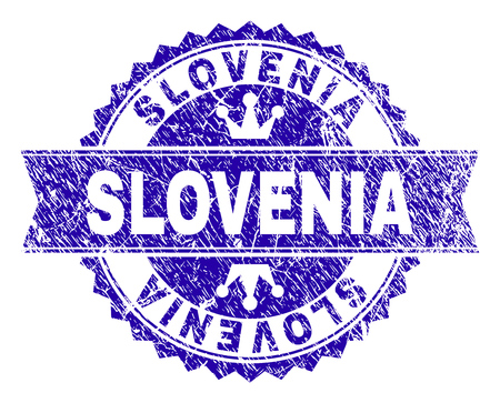 SLOVENIA rosette stamp seal imprint with grunge texture. Designed with round rosette, ribbon and small crowns. Blue vector rubber print of SLOVENIA caption with grunge texture.