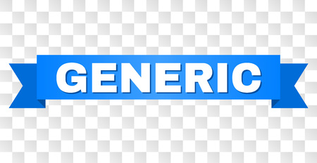 GENERIC text on a ribbon. Designed with white caption and blue tape. Vector banner with GENERIC tag on a transparent background. Ilustração