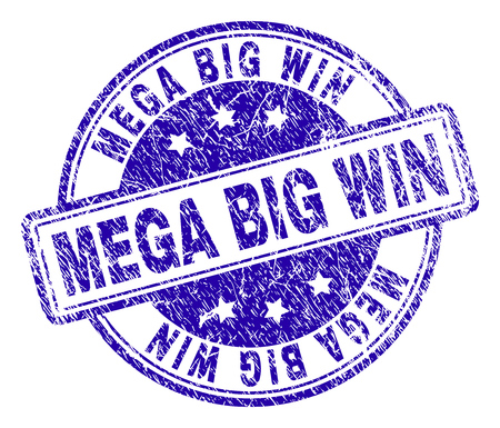 MEGA BIG WIN stamp seal imprint with grunge texture. Designed with rounded rectangles and circles. Blue vector rubber print of MEGA BIG WIN label with grunge texture.
