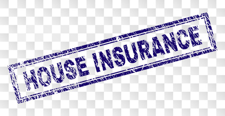 HOUSE INSURANCE stamp seal watermark with rubber print style and double framed rectangle shape. Stamp is placed on a transparent background. Illustration