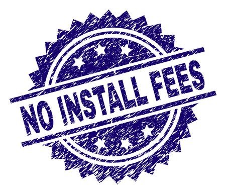 NO INSTALL FEES stamp seal watermark with distress style. Blue vector rubber print of NO INSTALL FEES caption with retro texture. Stock Illustratie