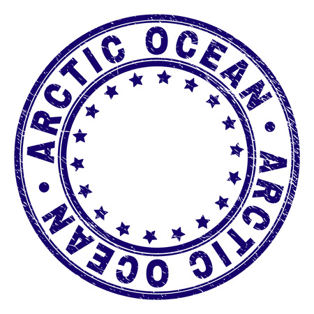 ARCTIC OCEAN stamp seal watermark with grunge texture. Designed with round shapes and stars. Blue vector rubber print of ARCTIC OCEAN tag with unclean texture.
