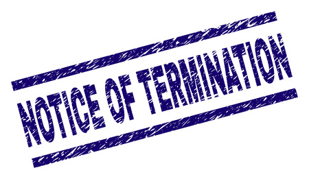 NOTICE OF TERMINATION seal print with scratced style. Blue vector rubber print of NOTICE OF TERMINATION text with scratched texture. Text caption is placed between parallel lines.
