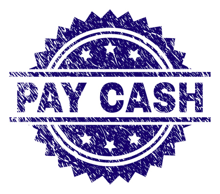 PAY CASH stamp seal watermark with distress style. Blue vector rubber print of PAY CASH tag with dust texture.