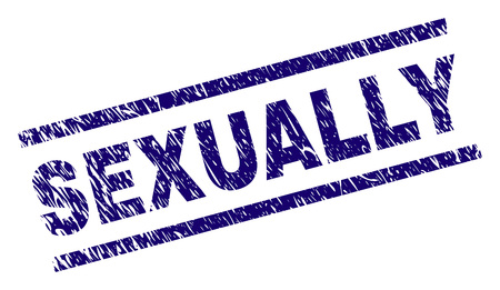 SEXUALLY seal print with distress style. Blue vector rubber print of SEXUALLY text with grunge texture. Text label is placed between parallel lines.