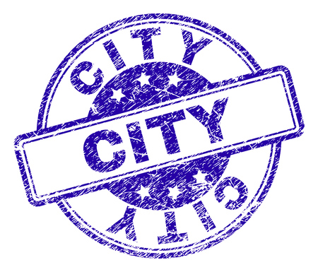 CITY stamp seal imprint with distress texture. Designed with rounded rectangles and circles. Blue vector rubber print of CITY label with unclean texture. Illustration