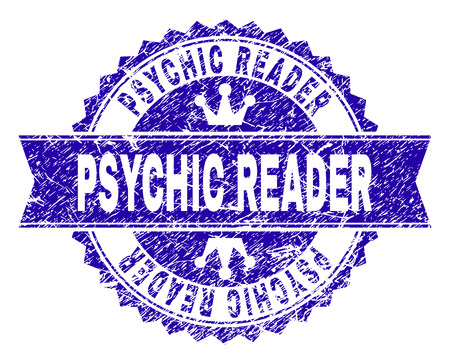PSYCHIC READER rosette stamp watermark with grunge style. Designed with round rosette, ribbon and small crowns. Blue vector rubber watermark of PSYCHIC READER title with dirty style.