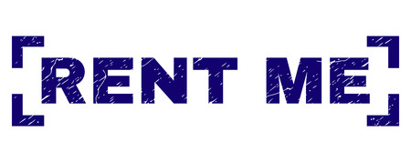 RENT ME caption seal watermark with corroded texture. Text caption is placed inside corners. Blue vector rubber print of RENT ME with dust texture.