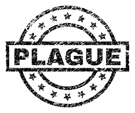 PLAGUE stamp seal watermark with distress style. Designed with rectangle, circles and stars. Black vector rubber print of PLAGUE text with corroded texture. Ilustração