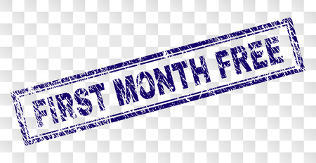 FIRST MONTH FREE stamp seal print with rubber print style and double framed rectangle shape. Stamp is placed on a transparent background.