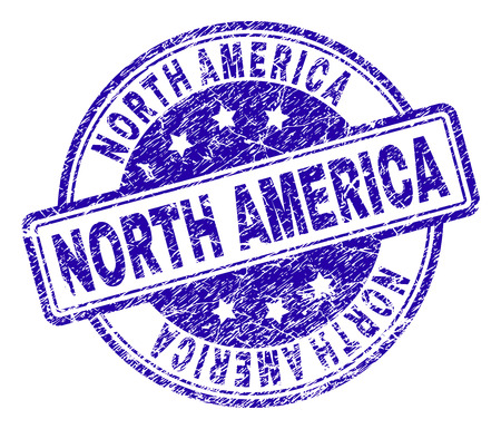 NORTH AMERICA stamp seal watermark with grunge texture. Designed with rounded rectangles and circles. Blue vector rubber print of NORTH AMERICA caption with grunge texture.