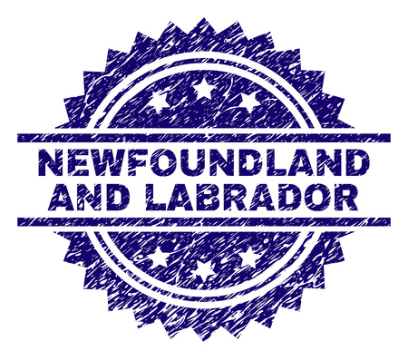 NEWFOUNDLAND AND LABRADOR stamp seal watermark with distress style. Blue vector rubber print of NEWFOUNDLAND AND LABRADOR text with corroded texture.